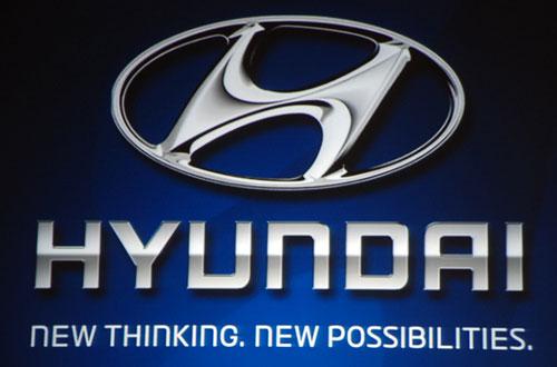 Hyundai logo on the blue background