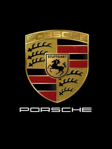 Porsche logo on the black background