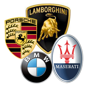 German  Company Logo on Four Car Emblems In The Picture Are The Four Symbols Of The Leading