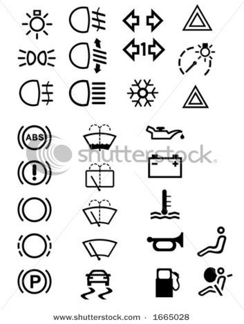 List of dashboard symbols on car