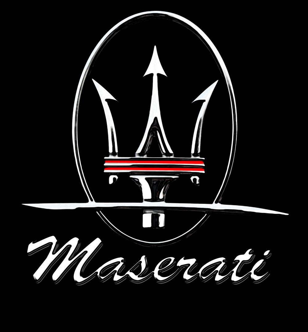 white maserati logo color