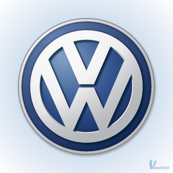 Volkswagen logo on light blue background Car logos